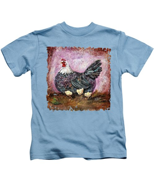 Vintage Blue Hen With Chicks Fresco  18x24 Kids T-Shirt