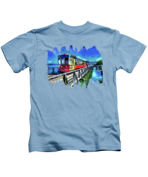 Astoria Riverfront Trolley Kids T-Shirt by Thom Zehrfeld