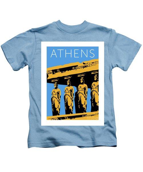 Athens Erechtheum Blue Kids T-Shirt