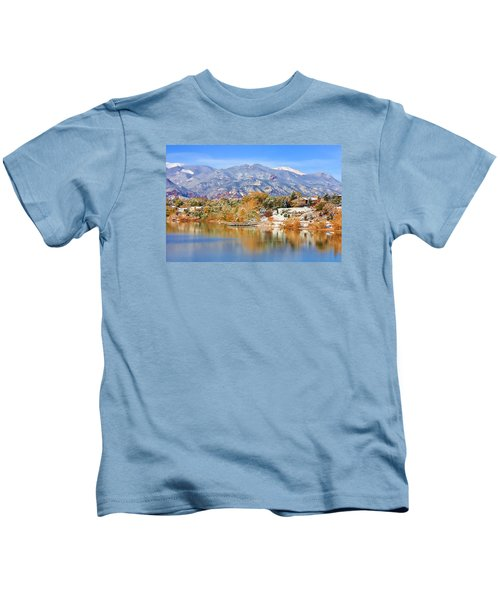 Autumn Snow At The Lake Kids T-Shirt