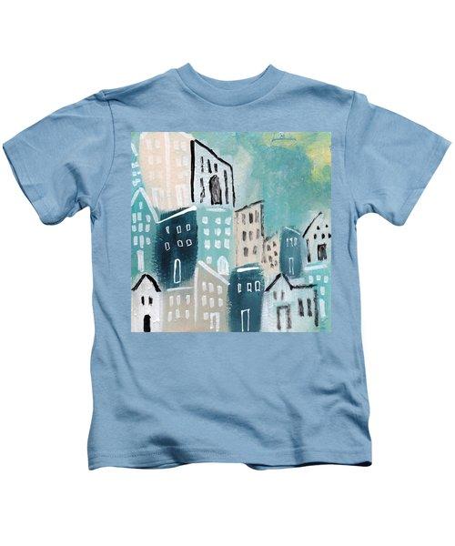 Beach Town- Art By Linda Woods Kids T-Shirt
