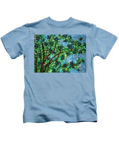 Beadwork, Bead Embroidery. Tree And Sky Kids T-Shirt