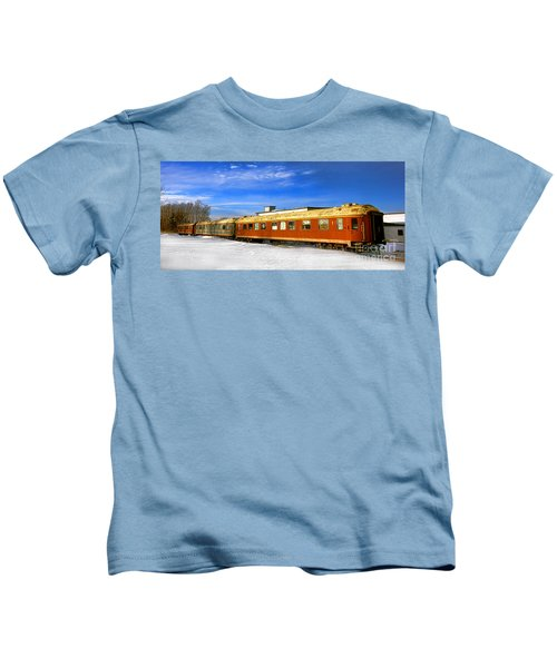 Belfast And Moosehead Railroad Cars In Winter Kids T-Shirt