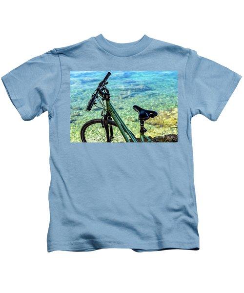 Bicycle By The Adriatic, Rovinj, Istria, Croatia Kids T-Shirt