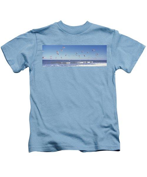 Birds Flying Over The Sea, Flagler Kids T-Shirt