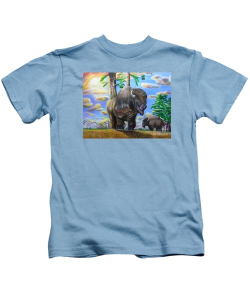 Bison Acrylic Painting Kids T-Shirt