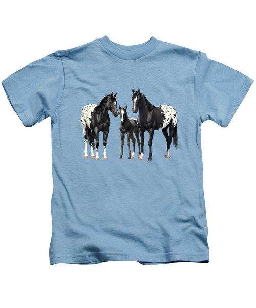 Black Appaloosa Horses In Winter Pasture Kids T-Shirt