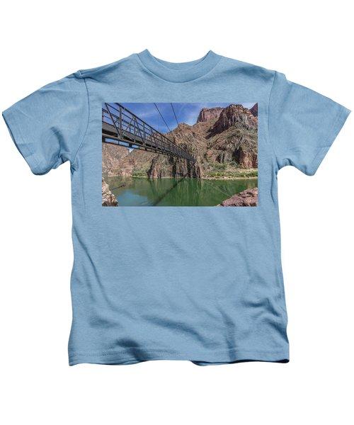 Black Bridge Over The Colorado River At Bottom Of Grand Canyon Kids T-Shirt