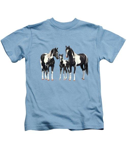Black Paint Horses In Winter Pasture Kids T-Shirt