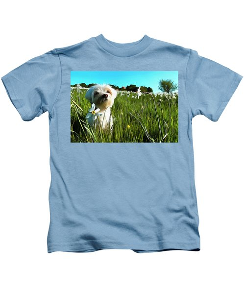 Blooming Daffodils In The Antola Park With Maltese I Paint Kids T-Shirt