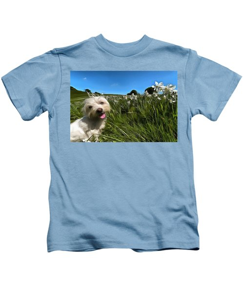 Blooming Daffodils In The Antola Park With Maltese II Paint Kids T-Shirt