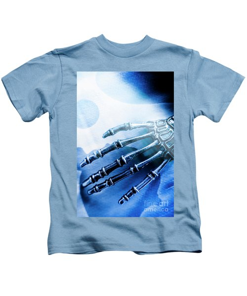 Blue Android Hand Kids T-Shirt