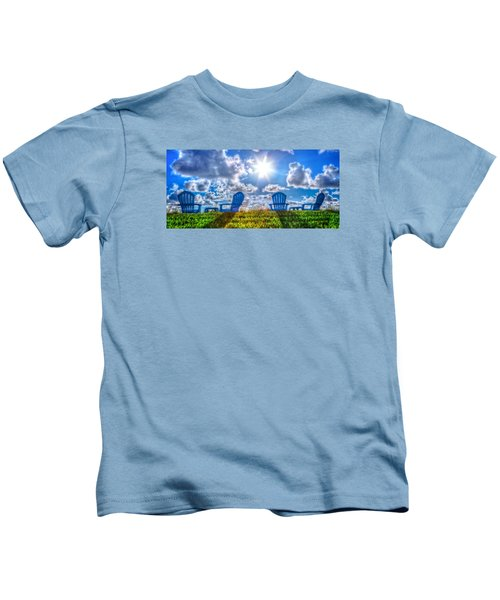 Blue Chairs On The Dunes Kids T-Shirt