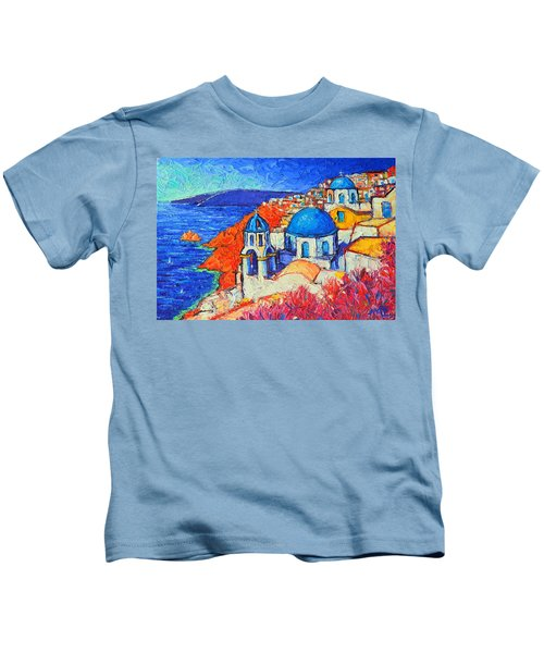 Blue Domes In Oia Santorini Greece Original Impasto Palette Knife Oil Painting By Ana Maria Edulescu Kids T-Shirt