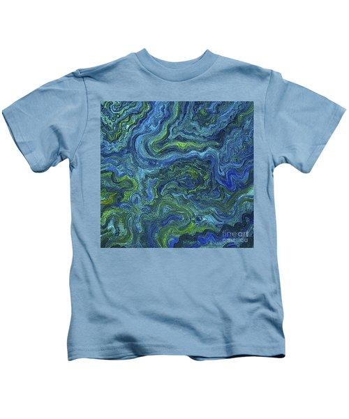 Blue Green Texture Kids T-Shirt