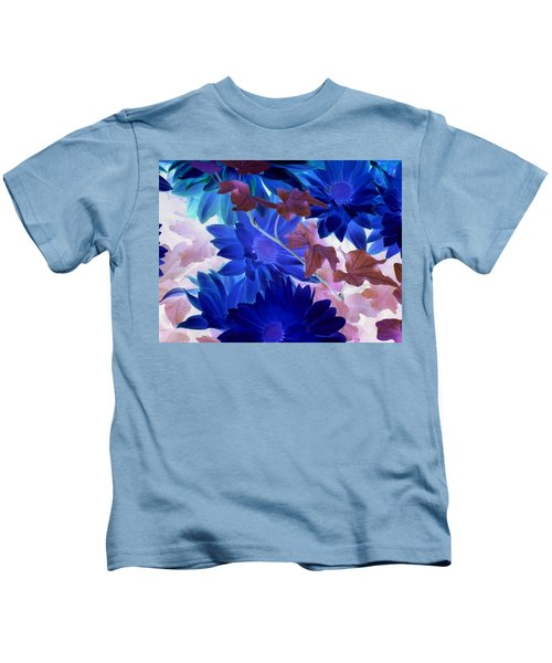Blue Mums With Purple Ivy Kids T-Shirt
