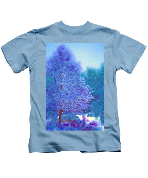 Blue Snow Scene Kids T-Shirt