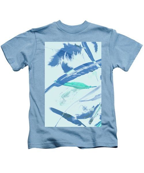 Blue Toned Artistic Feather Abstract Kids T-Shirt