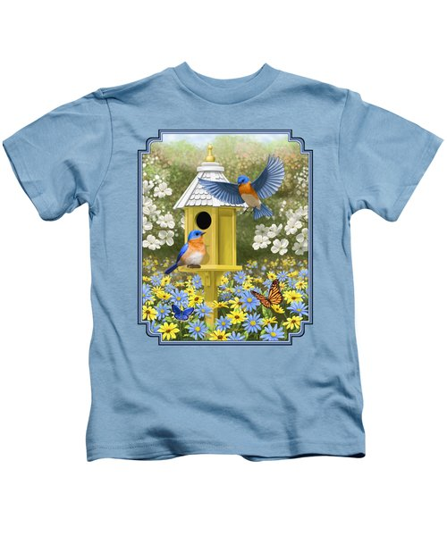 Bluebird Garden Home Kids T-Shirt by Crista Forest