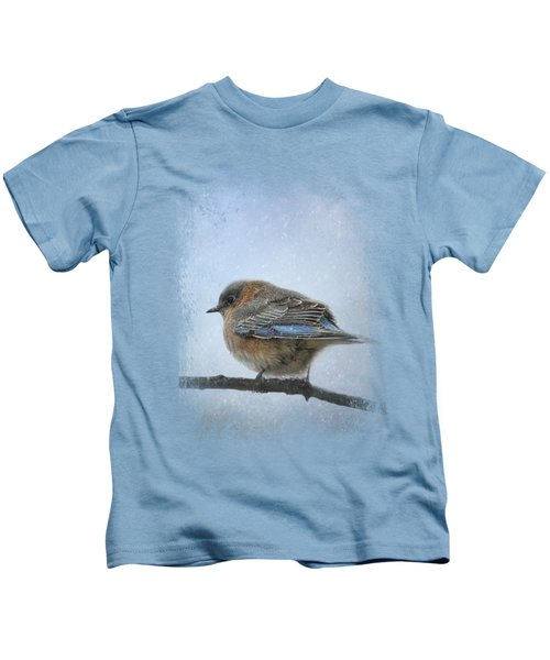 Bluebird In The Snow Kids T-Shirt by Jai Johnson