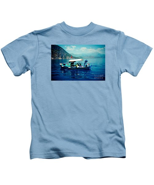 Boat And Sapfir Sea Seascape Artmif Kids T-Shirt