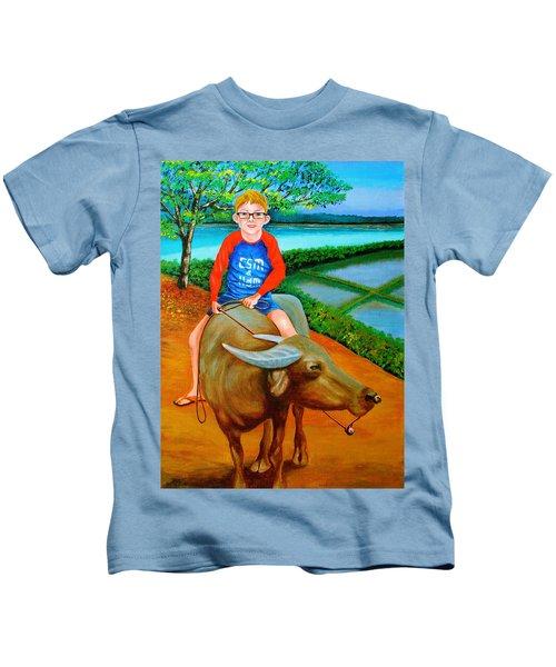 Boy Riding A Carabao Kids T-Shirt