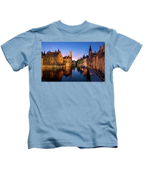 Bruges Canals At Blue Hour Kids T-Shirt