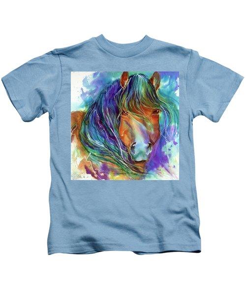 Bucky The Mustang In Watercolor Kids T-Shirt