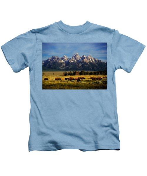 Buffalo Under Tetons Kids T-Shirt