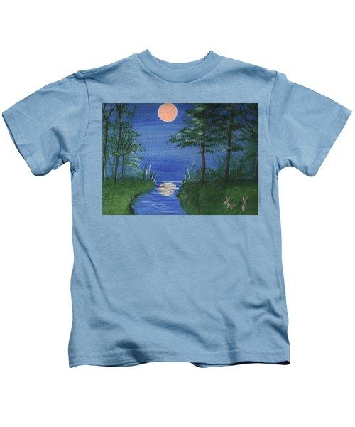 Bunnies In The Garden At Midnight Kids T-Shirt