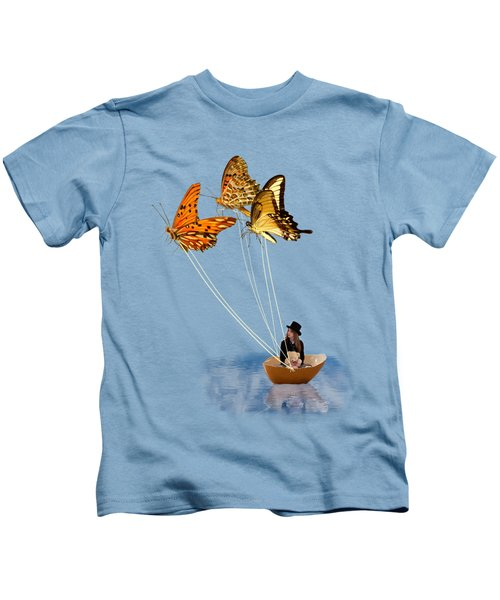 Butterfly Sailing Kids T-Shirt by Linda Lees