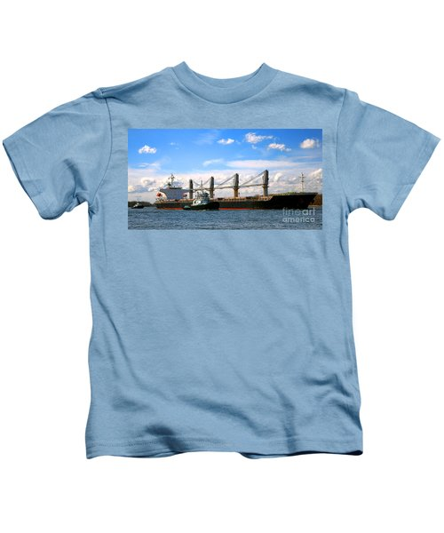 Cargo Ship And Tugboats  Kids T-Shirt