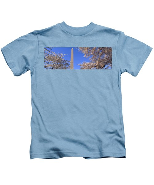 Cherry Blossoms And Washington Kids T-Shirt by Panoramic Images