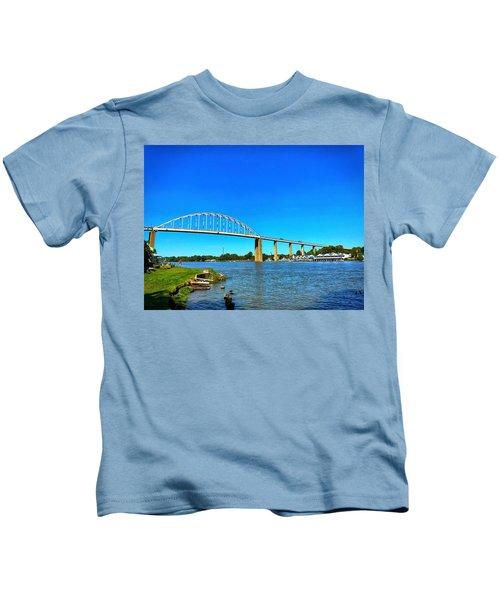 Kids T-Shirt featuring the photograph Chesapeake City Bridge  by Chris Montcalmo