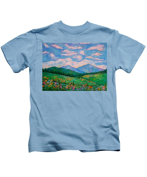 Cloud Swirl Over The Peaks Of Otter Kids T-Shirt
