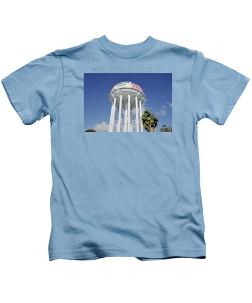Cocoa Water Tower With American Flag Kids T-Shirt