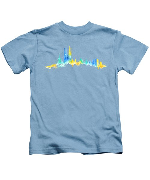 Color Barcelona Skyline 02 Kids T-Shirt by Aloke Creative Store