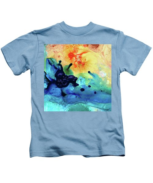 Colorful Abstract Art - Blue Waters - Sharon Cummings Kids T-Shirt