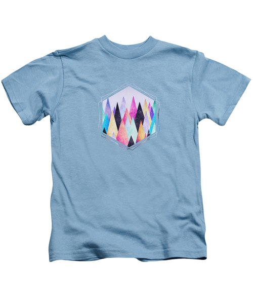 Colorful Abstract Geometric Triangle Peak Woods  Kids T-Shirt