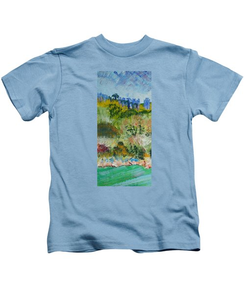 Colorful Forest On Cliffs Near The Sea In Dartmouth Devon Kids T-Shirt