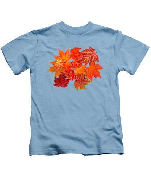 Colorful Maple Leaves Kids T-Shirt by Christina Rollo