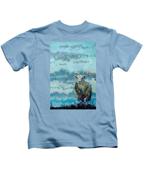 Colorful Sheep Art - Out Of The Stormy Sky Kids T-Shirt