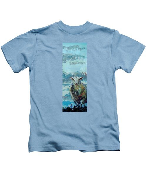 Colorful Sky And Sheep - Narrow Painting Kids T-Shirt