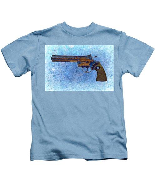 Colt Python 357 Mag On Blue Background. Kids T-Shirt