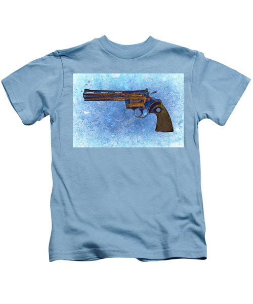 Colt Python 357 Mag On Blue Background. Kids T-Shirt