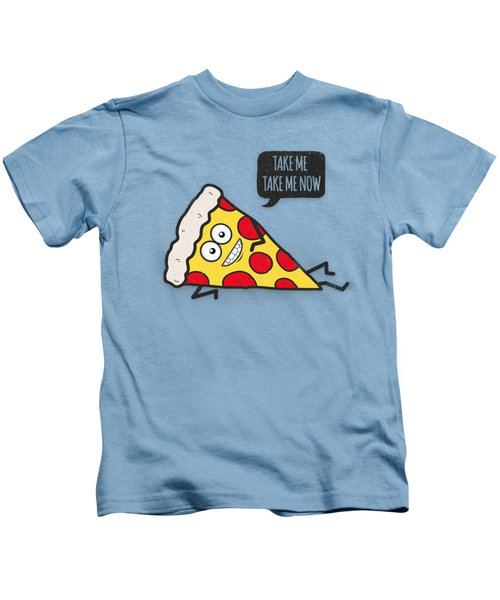 Cool And Trendy Pizza Pattern In Super Acid Green   Turquoise   Blue Kids T-Shirt