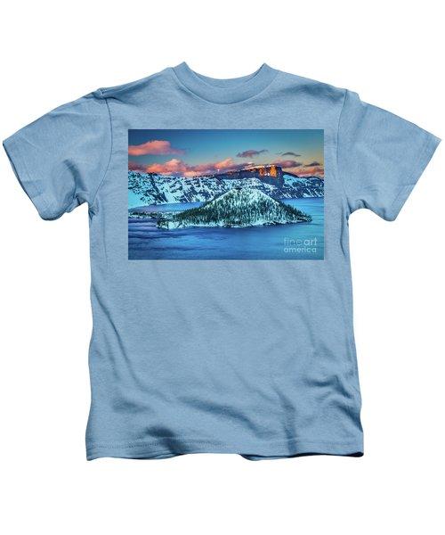 Crater Lake Dusk Kids T-Shirt