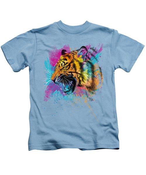 Crazy Tiger Kids T-Shirt by Olga Shvartsur