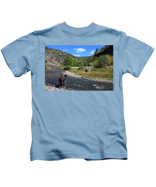 Crossing The Gila On Horseback Kids T-Shirt