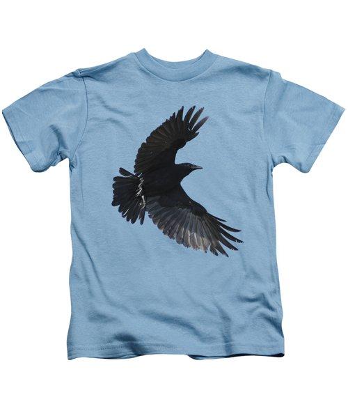 Crow In Flight Kids T-Shirt